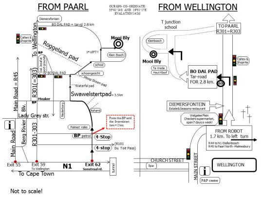 Map Mooi Bly in Paarl  Cape Winelands  Western Cape  South Africa