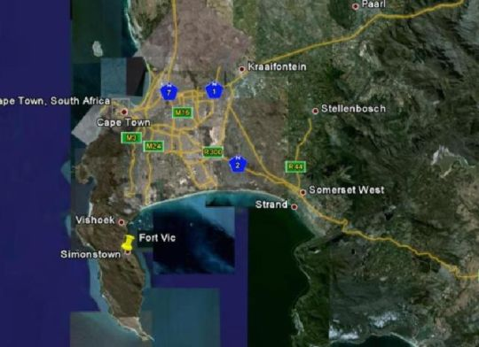 Map Fort Vic in Simon's Town  False Bay  Cape Town  Western Cape  South Africa
