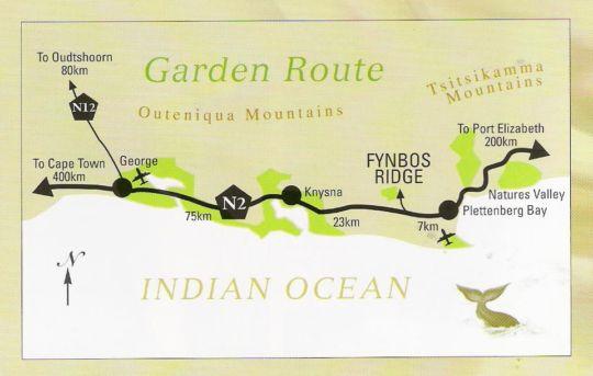 Map Fynbos Ridge in Plettenberg Bay  Garden Route  Western Cape  South Africa