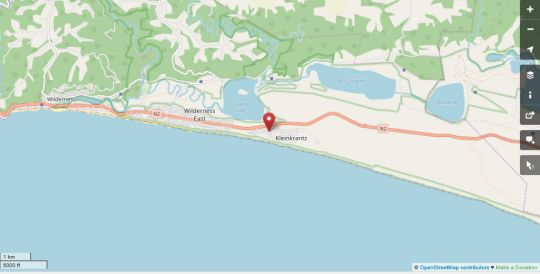 Map Kleinkrantz Beach House in Wilderness  Garden Route  Western Cape  South Africa