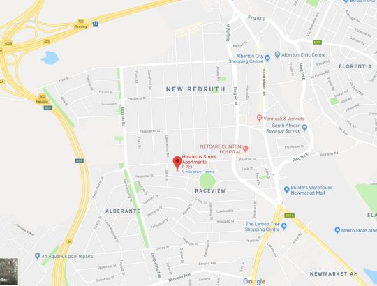 Map Mulberry House in Raceview  Alberton  Ekurhuleni (East Rand)  Gauteng  South Africa