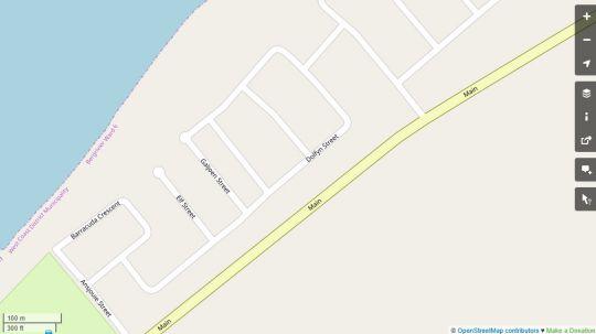 Map P\'pierblom in Dwarskersbos  West Coast (WC)  Western Cape  South Africa