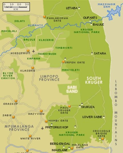Map Parsons Hilltop Safari Camp in Balule Nature Reserve  Greater Kruger Park  Kruger National Park (LIM)  Limpopo  South Africa