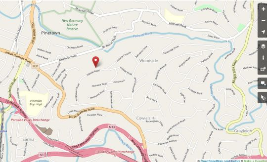 Map Hillside Guesthouse in Cowies Hill  Western Suburbs (DBN)  Durban and Surrounds  KwaZulu Natal  South Africa
