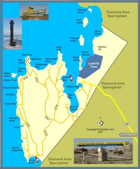 Map Self Catering Apartments in Historic Monument in Luderitz  Karas  Namibia