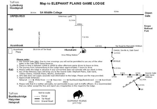 Map Elephant Plains Game Lodge in Sabi Sand  Kruger National Park (MP)  Mpumalanga  South Africa
