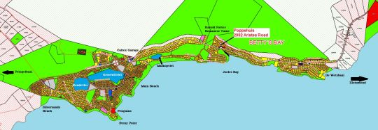 Map Poppehuis in Betty's Bay  Overberg  Western Cape  South Africa