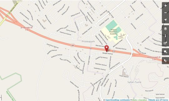 Map Protea Park Self Catering in Rustenburg  Bojanala  North West  South Africa