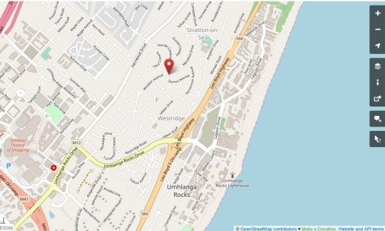 Map Blue Pearl Cottages in Umhlanga Rocks  Umhlanga  Northern Suburbs (DBN)  Durban and Surrounds  KwaZulu Natal  Zuid-Afrika