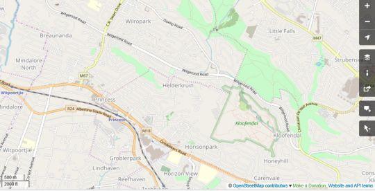 Map Kloofendal Guesthouse in Helderkruin  Roodepoort  West Rand  Gauteng  South Africa