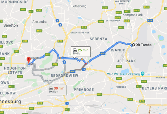 Map La Orchard Hotel in Orchards  Sandton  Johannesburg  Gauteng  South Africa