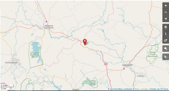 Map Wyford Farm in Van Reenens Pass  Battlefields  KwaZulu Natal  South Africa