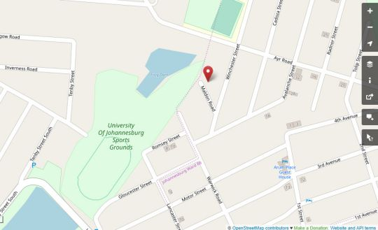 Map Hadeda Hall Guest house in Westdene  Northcliff/Rosebank  Johannesburg  Gauteng  South Africa