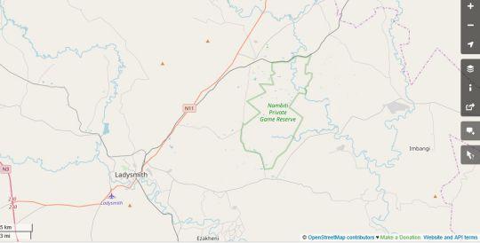 Map Gangeni Safaris Bush Lodge in Ladysmith  Battlefields  KwaZulu Natal  South Africa