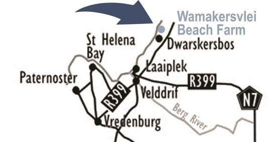 Map Wamakersvlei Beach Farm in Dwarskersbos  West Coast (WC)  Western Cape  South Africa