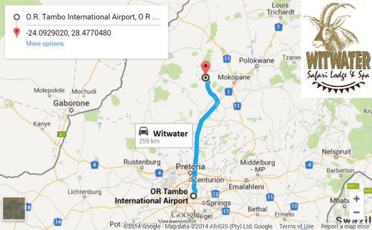 Map Witwater Safari Lodge & Spa in Mookgopong (Naboomspruit)  Bushveld  Limpopo  South Africa
