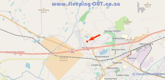 Map Worcester The Karoo Guest Room in Worcester  Breede River Valley  Western Cape  South Africa
