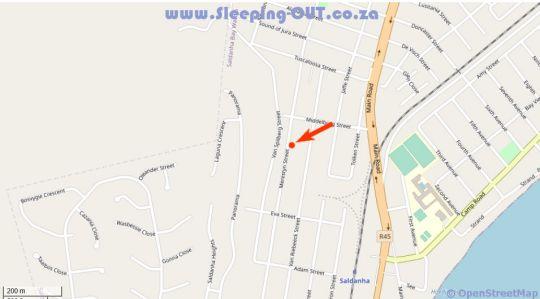 Map Lplek Guest House in Saldanha  West Coast (WC)  Western Cape  South Africa