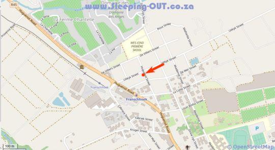 Map Bleu Cobalt Cottage in Franschhoek  Cape Winelands  Western Cape  South Africa