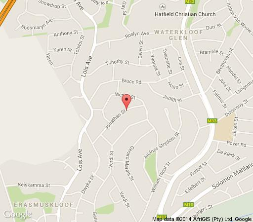 Map Chateau Vue Guesthouse in Erasmuskloof  Pretoria East  Pretoria / Tshwane  Gauteng  South Africa