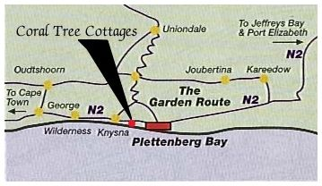 Map Coral Tree Cottages in Plettenberg Bay  Garden Route  Western Cape  South Africa