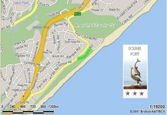 Map Dolphin Point B&B in Amanzimtoti  South Coast (KZN)  KwaZulu Natal  South Africa