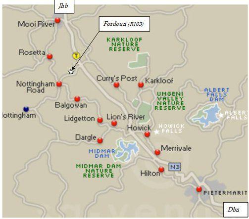 Map Fordoun Hotel & Spa in Nottingham Road  Midlands  KwaZulu Natal  South Africa