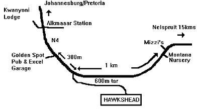 Map Hawkshead Guest Farm in Nelspruit  Lowveld  Mpumalanga  Zuid-Afrika