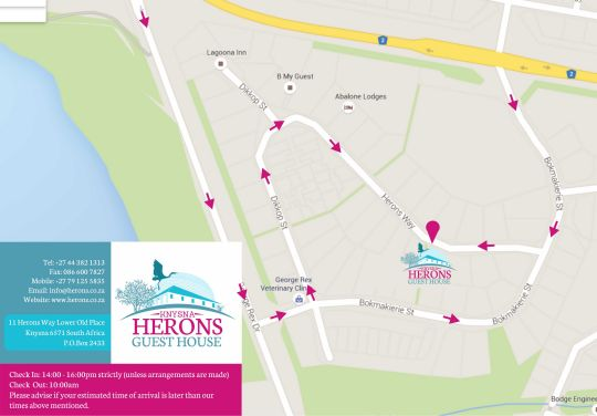 Map Knysna Herons Guest House in Knysna  Garden Route  Western Cape  South Africa