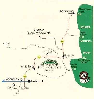 Map Highgrove House in Hazyview  The Panorama  Mpumalanga  South Africa