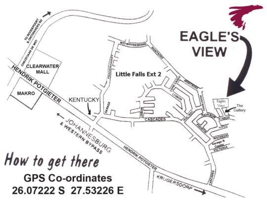 Map Eagles View Guest House and Conference Centre in Little Falls  Roodepoort  West Rand  Gauteng  Zuid-Afrika