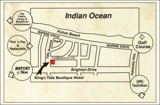 Map King\'s Tide Boutique Hotel in Summerstrand  Port Elizabeth  Cacadu (Sarah Baartman)  Eastern Cape  South Africa