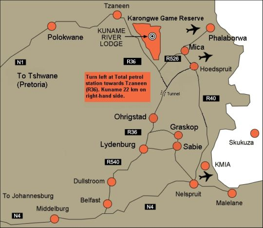 Map Kuname River Lodge in Hoedspruit  Valley of the Olifants  Limpopo  South Africa