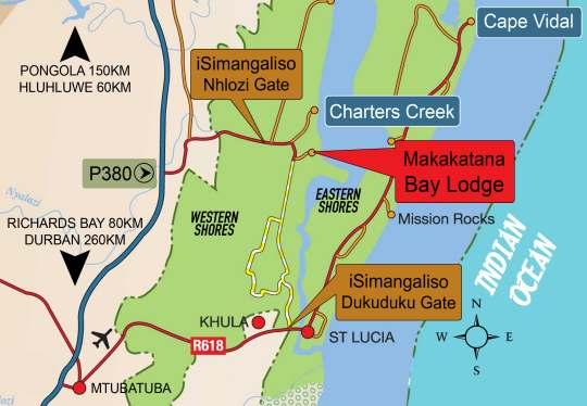 Map Makakatana Bay Lodge in St Lucia  Zululand  KwaZulu Natal  South Africa