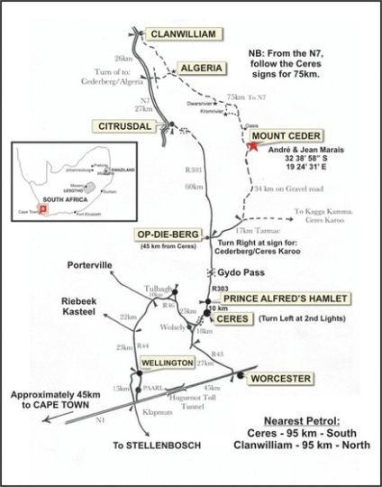 Map Mount Ceder in Ceres  Breede River Valley  Western Cape  South Africa