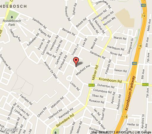Map Muir Cottage in Rondebosch  Southern Suburbs (CPT)  Cape Town  Western Cape  South Africa