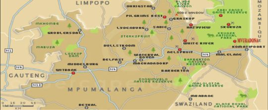 Map Mvuradona Safari Lodge in Marloth Park  Kruger National Park (MP)  Mpumalanga  South Africa