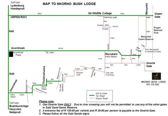 Map Nkorho Bush Lodge in Sabi Sand  Kruger National Park (MP)  Mpumalanga  South Africa