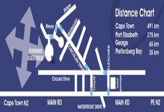 Map Overmeer Guest House in Knysna  Garden Route  Western Cape  South Africa