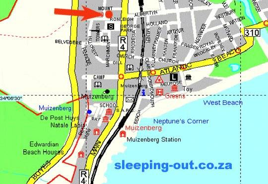 Map Bluebottle Guesthouse in Muizenberg  False Bay  Cape Town  Western Cape  South Africa