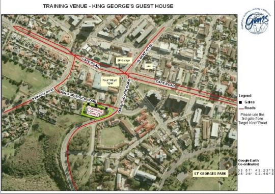 Map King George\'s Guest House in Mill Park  Port Elizabeth  Cacadu  Eastern Cape  Zuid-Afrika