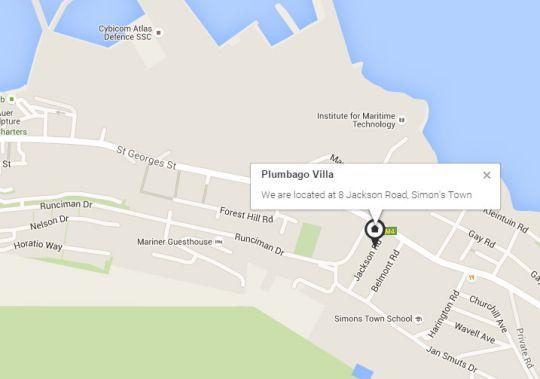 Map Plumbago Villa Simon\'s Town in Simon's Town  False Bay  Cape Town  Western Cape  South Africa