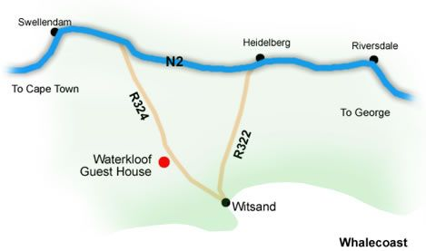 Map Waterkloof Guest House in De Hoop  Overberg  Western Cape  South Africa