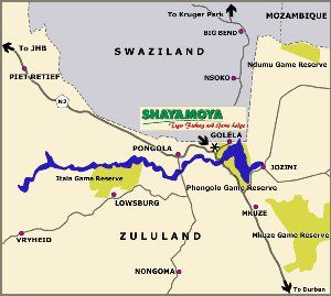 Map Shayamoya Tiger Fishing & Game Lodge in Pongola  Zululand  KwaZulu Natal  South Africa