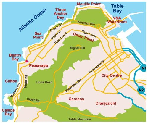 Map The Clarendon - Fresnaye in Fresnaye  Atlantic Seaboard  Cape Town  Western Cape  South Africa