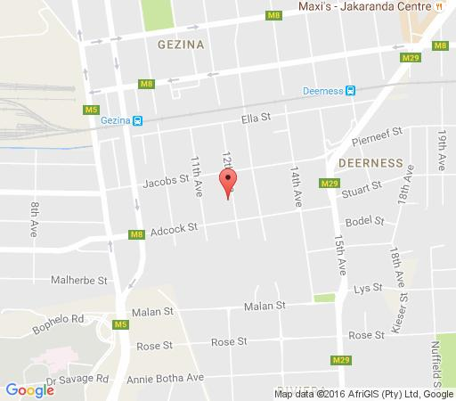 Map Eleventh Avenue Guest House in Gesina  Moot  Pretoria / Tshwane  Gauteng  South Africa