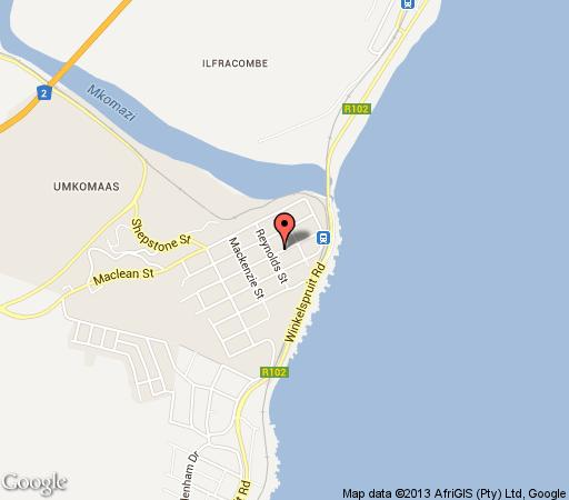 Map Agulhas House in Umkomaas  South Coast (KZN)  KwaZulu Natal  South Africa