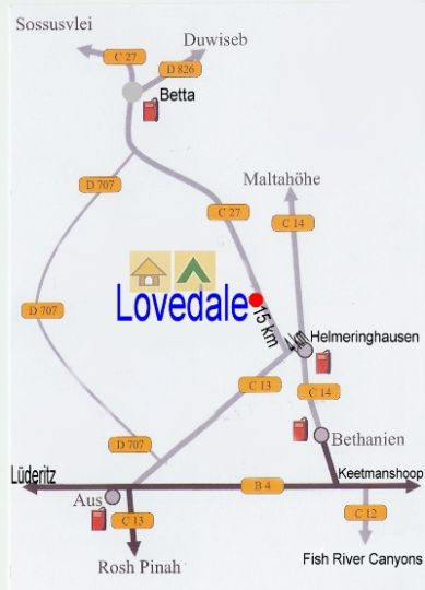 Map Lovedale Farm Holidays in Helmeringhausen  Karas  Namibia