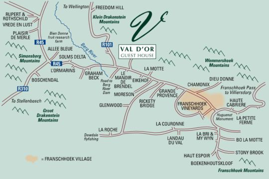 Map Vald\'Or Guest House in Franschhoek  Cape Winelands  Western Cape  South Africa