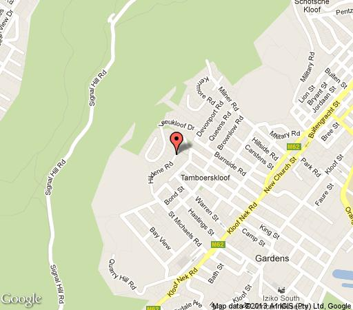 Map Radium Hall Guest House in Tamboerskloof  City Bowl  Cape Town  Western Cape  South Africa